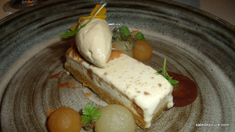 Pears and Pumpkin Cake with Speculass Ice Cream, Moscato Jelly, Prunes, Dates, Molasses, Pecans-2