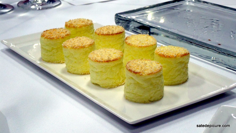 3rd Course Cheese Souffle constructed, re-heatable souffle, N-Zorbit Crumble