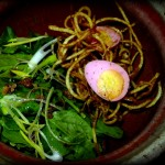 Salad of Killed Baby Spinach, Pickled Quail Egg, Crispy Potatoes
