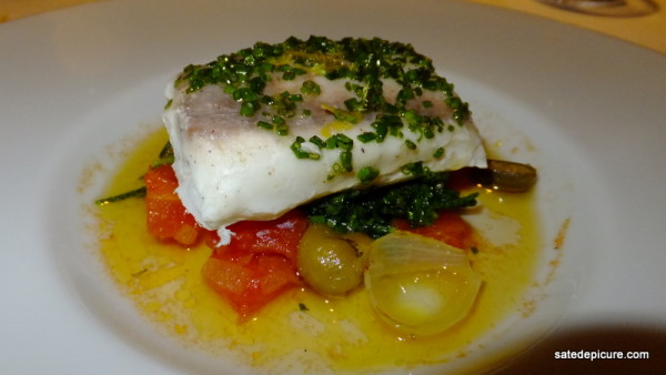 6. Dentex (local Turkish Fish), Oven Roasted Tomatoes, Capers, Halhal Olives, Samphire, Chive-Fig Vinaigrette