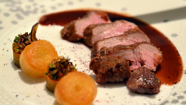 "Prepared Roast rack of lamb from the hills of the Haut Var with Marjoram, Brive Violet mustard jus and potato ""spirals"""